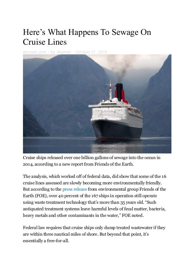 Sewage On Cruise Lines - Cruise ship sewage