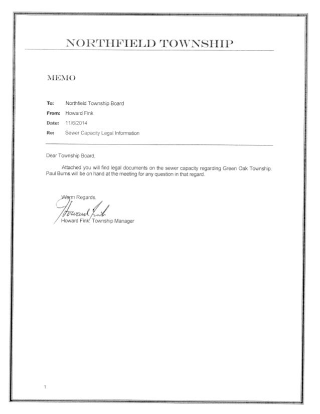 N  RTH FIELD TOW' N SHIP  . ll. *]. I()  To:  Northfield Township Board From:  Howard Fink Date:  'l 1/6/2014  Re:  Sewer ...
