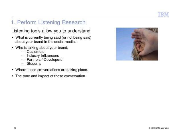 1. Perform Listening ResearchListening tools allow you to understand  What is currently being said (or not being said)  ab...