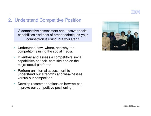 2. Understand Competitive Position        A competitive assessment can uncover social        capabilities and best of bree...