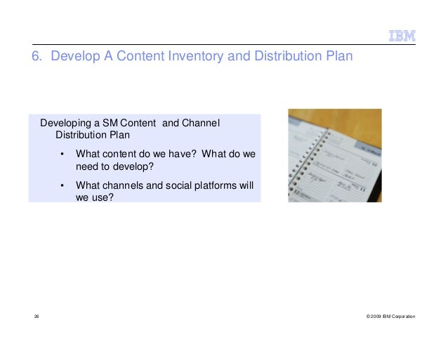 6. Develop A Content Inventory and Distribution Plan     Developing a SM Content and Channel       Distribution Plan      ...