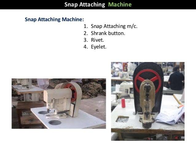 Snap Attaching Machine: 1. Snap Attaching m/c. 2. Shrank button. 3. Rivet. 4. Eyelet. Snap Attaching Machine