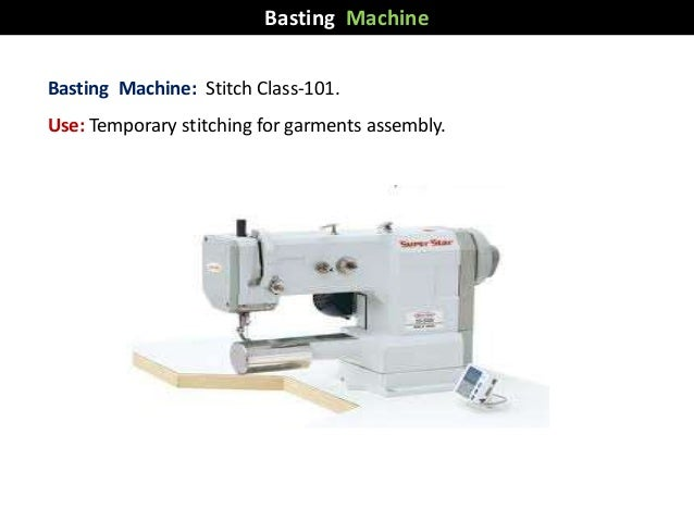 Basting Machine: Stitch Class-101. Use: Temporary stitching for garments assembly. Basting Machine