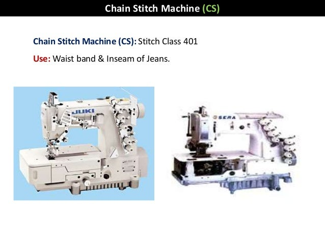Chain Stitch Machine (CS): Stitch Class 401 Use: Waist band & Inseam of Jeans. Chain Stitch Machine (CS)