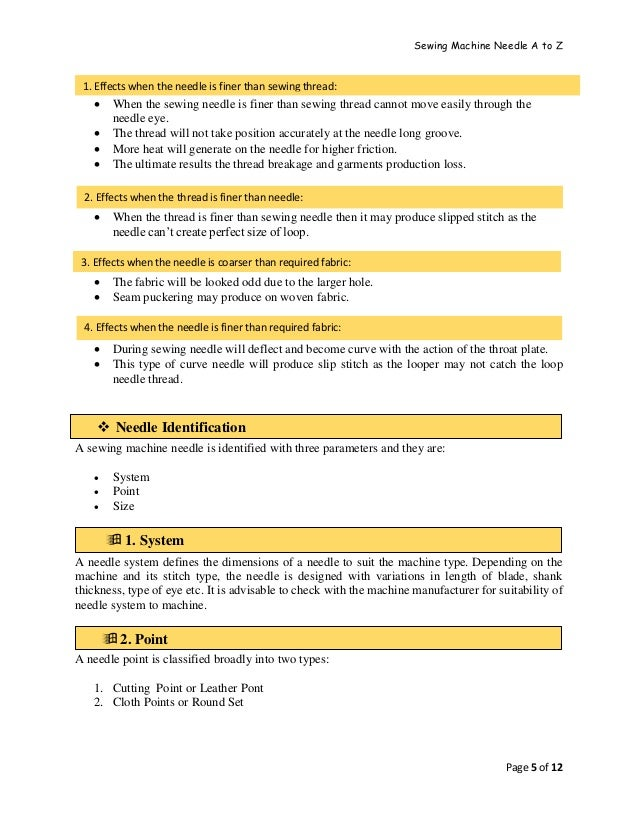 Sewing Machine Needle A to Z Page 5 of 12  When the sewing needle is finer than sewing thread cannot move easily through ...