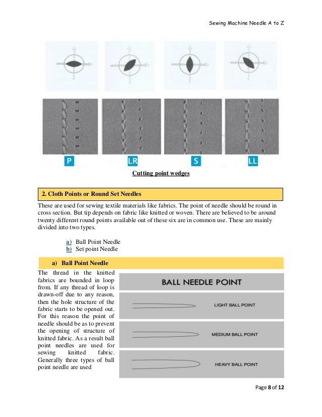 Sewing Machine Needle A to Z Page 8 of 12 Cutting point wedges These are used for sewing textile materials like fabrics. T...