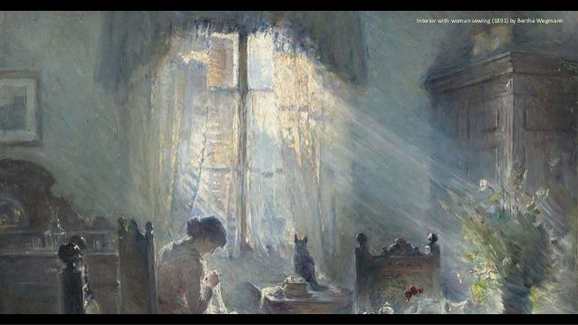 Interior with woman sewing (1891) by Bertha Wegmann