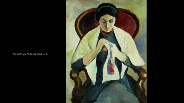 Woman Sewing Painting by August Macke