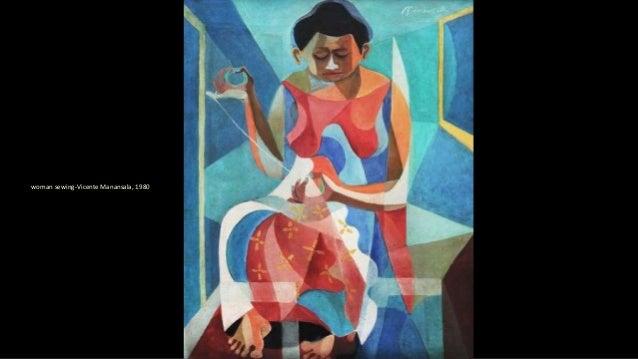 woman sewing-Vicente Manansala, 1980