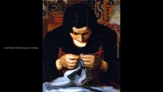 Joseph Kleitsch Woman Sewing, Paris Painting