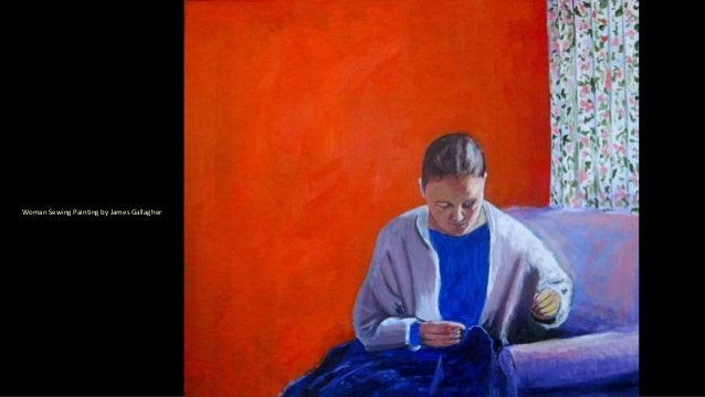 Woman Sewing Painting by James Gallagher