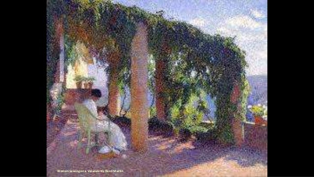 Woman Sewing on a Veranda by Henri Martin