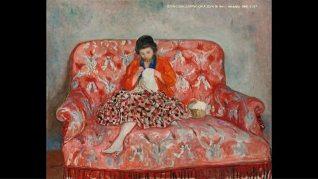 YOUNG GIRL SEWING ON A SOFA By Henri lebasque 1865-1937