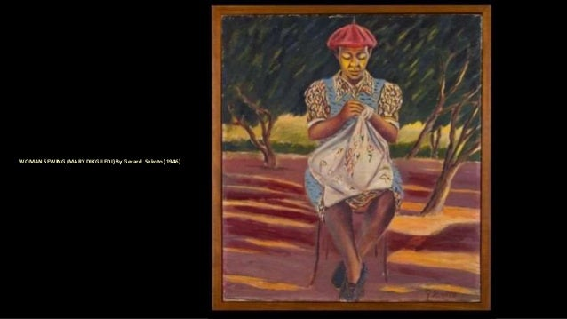 WOMAN SEWING (MARY DIKGILEDI) By Gerard Sekoto (1946)