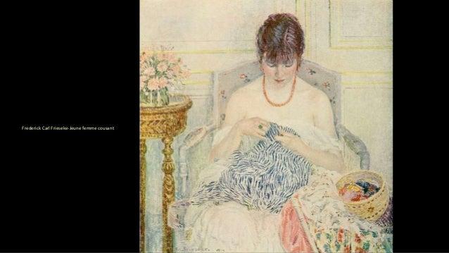 Frederick Carl Frieseke-Jeune femme cousant
