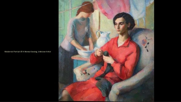 Modernist Portrait Of A Woman Sewing, Unknown Artist