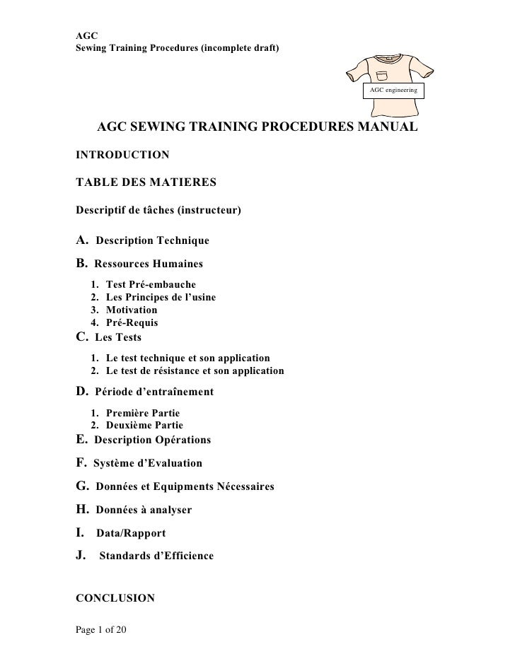 AGCSewing Training Procedures (incomplete draft)                                                   AGC engineering      AG...