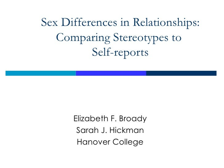 Sex Differences in Relationships: Comparing Stereotypes to  Self-reports Elizabeth F. Broady Sarah J. Hickman Hanover Coll...