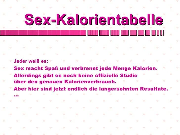 Sex-KalorientabelleJeder weiß es:Sex macht Spaß und verbrennt jede Menge Kalorien.Allerdings gibt es noch keine offizielle...