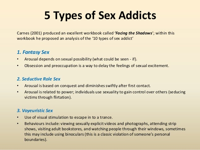 Different types of sex addictions