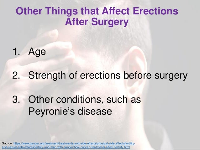Other Things that Affect Erections After Surgery 1. Age 2. Strength of erections before surgery 3. Other conditions, such ...
