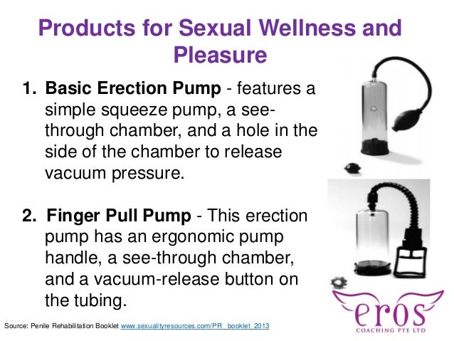 Products for Sexual Wellness and Pleasure 1. Basic Erection Pump - features a simple squeeze pump, a see- through chamber,...