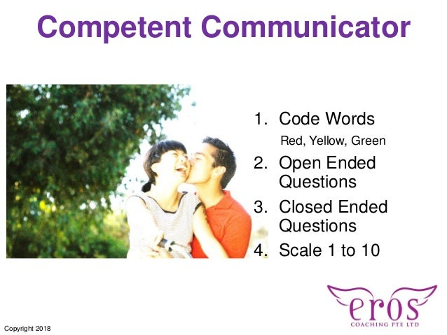 Competent Communicator 1. Code Words Red, Yellow, Green 2. Open Ended Questions 3. Closed Ended Questions 4. Scale 1 to 10...
