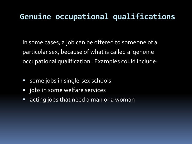 Examples of sex discrimination act