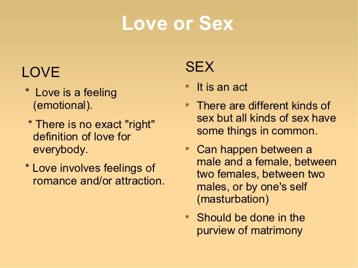Is it love or sex