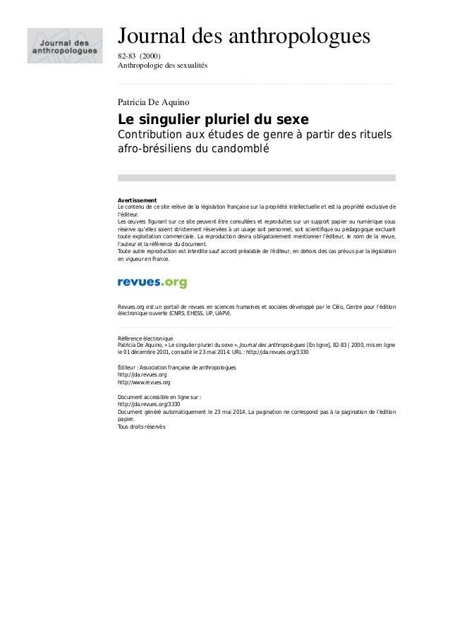 Journal des anthropologues 82-83 (2000) Anthropologie des sexualités .......................................................