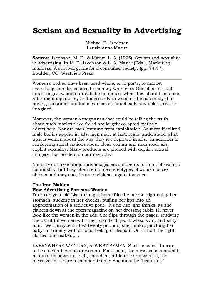 Sexism and Sexuality in Advertising                         Michael F. Jacobsen                         Laurie Anne MazurS...