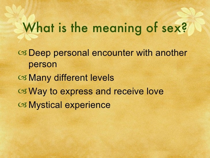 what is the meaning of sex