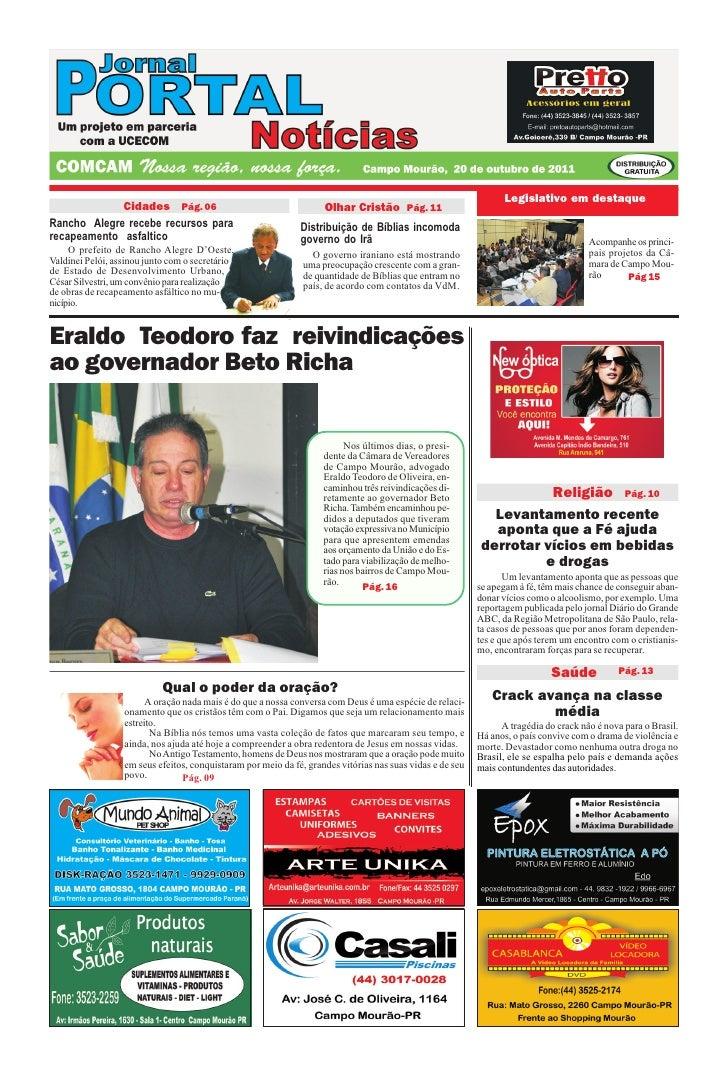 Legislativo em destaque             Cidades Pág. 06                                        Olhar Cristão Pág. 11Rancho Ale...