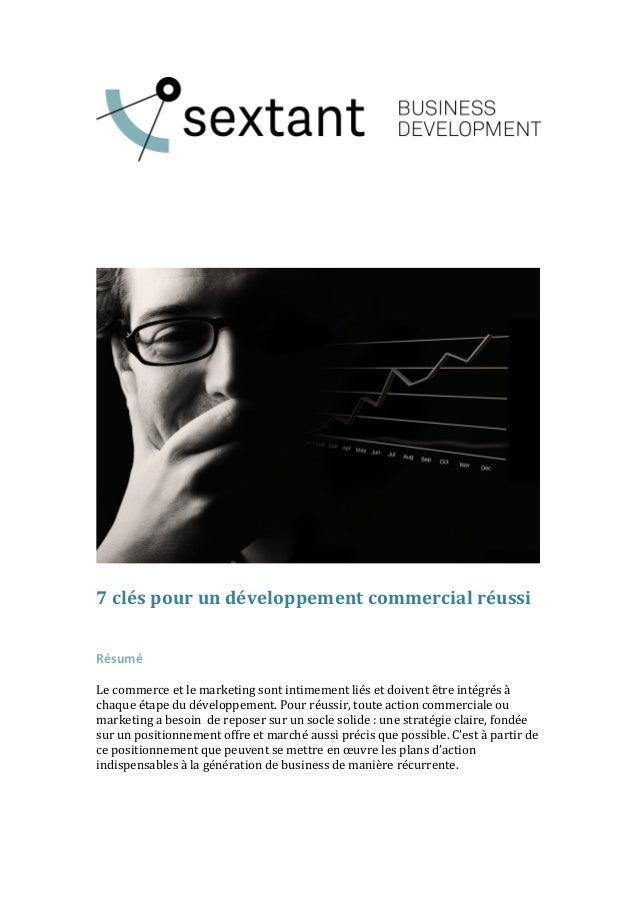 7  clés  pour  un  développement  commercial  réussi         Résumé...