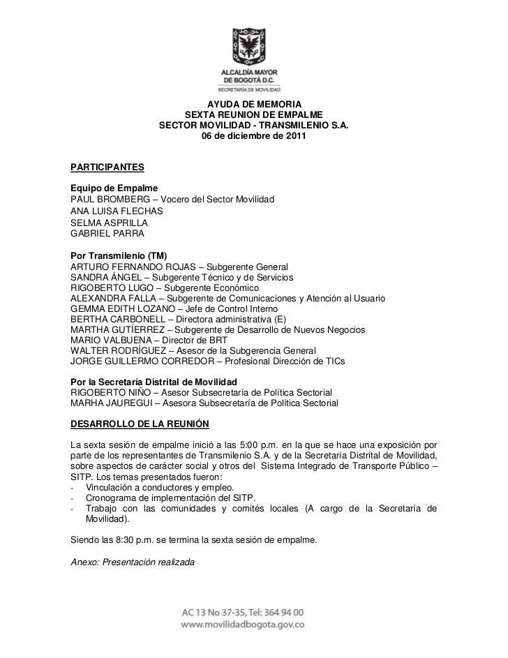 11e                              AYUDA DE MEMORIA                          SEXTA REUNION DE EMPALME                      S...