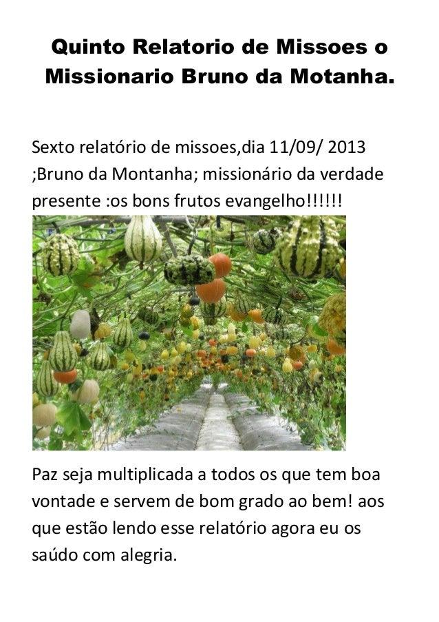 Quinto Relatorio de Missoes o Missionario Bruno da Motanha.  Sexto relatório de missoes,dia 11/09/ 2013 ;Bruno da Montanha...