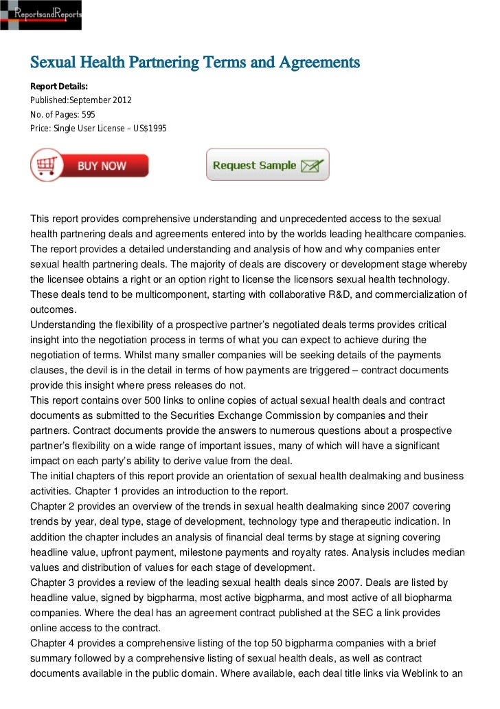 Sexual Health Partnering Terms and AgreementsReport Details:Published:September 2012No. of Pages: 595Price: Single User Li...
