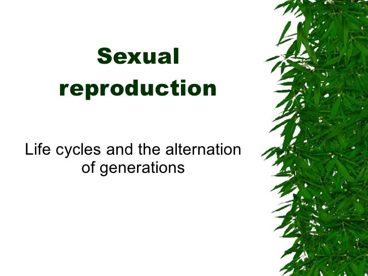 Sexual reproduction Life cycles and the alternation of generations