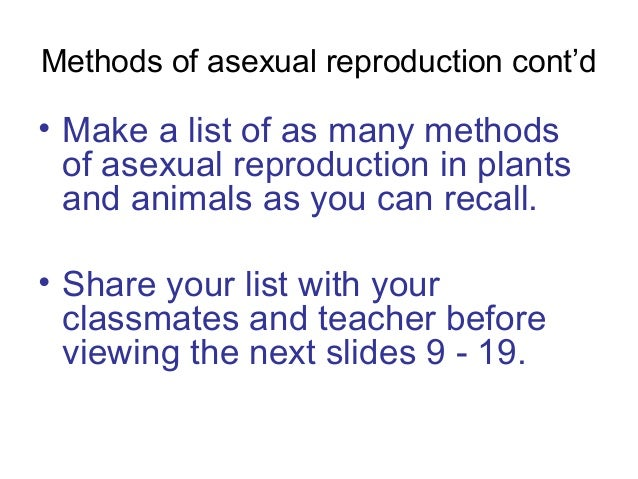 Asexual reproduction list