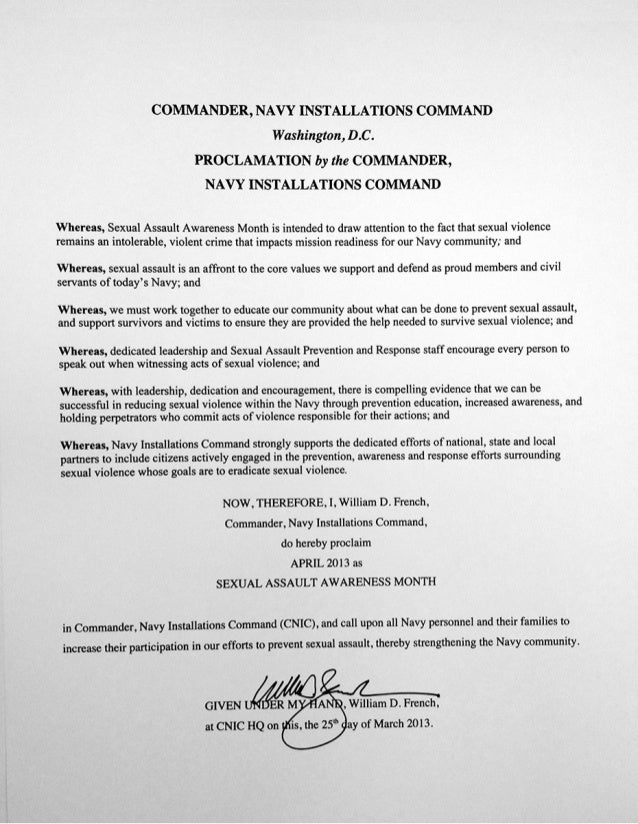Sexual Assault Awareness Month CNIC Proclamation 2013