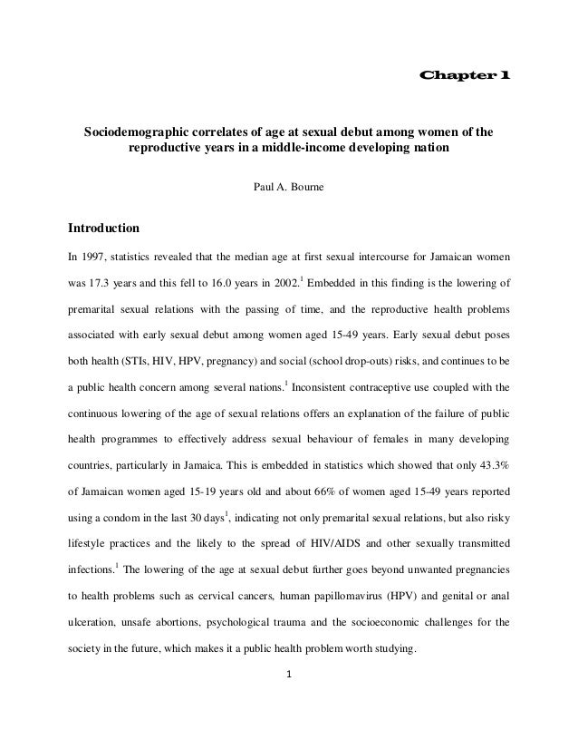 1 Chapter 1 Sociodemographic correlates of age at sexual debut among women of the reproductive years in a middle-income de...