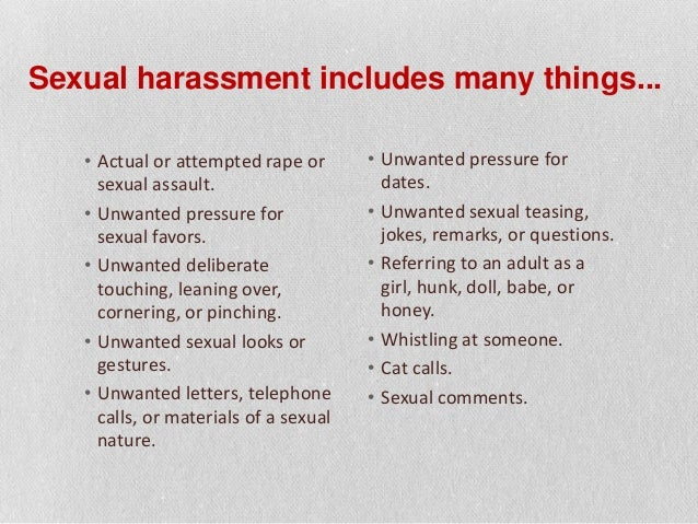 sexual harrasment essay Social issues essays: sexual harassment sexual harassment this research paper sexual harassment and other 64,000+ term papers, college essay examples and free essays are available now on reviewessayscom.