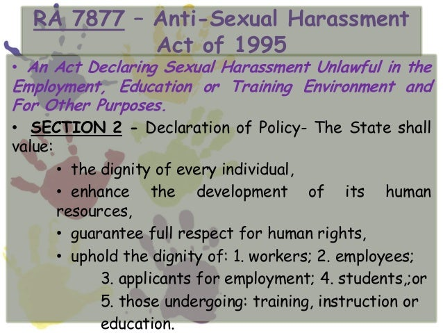 Implementing rules of anti-sexual harassment act of 1995 calendar