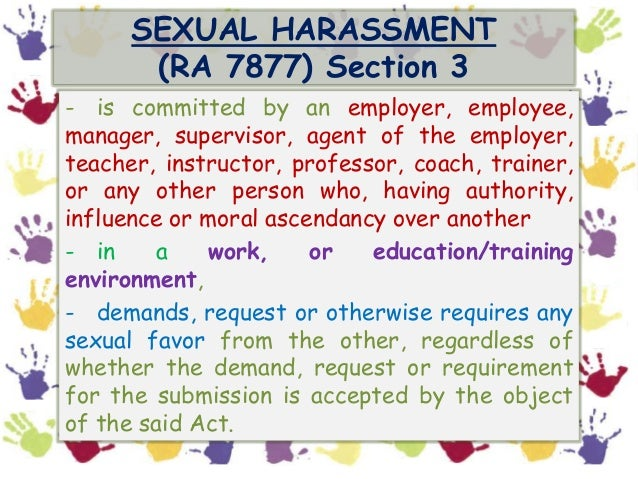 Training instructor notes sexual harassment