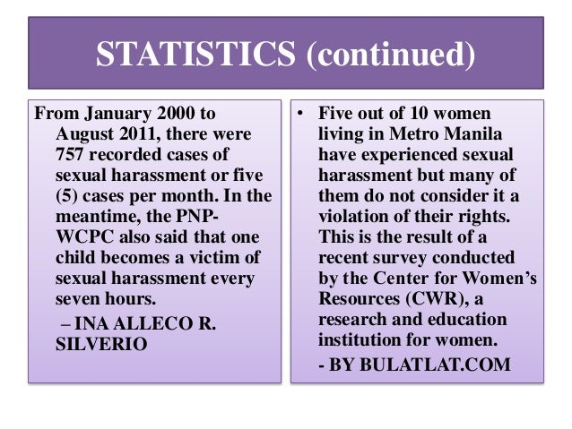 Statistics on sexual harassment