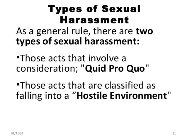 Motivation 2 types of sexual harassment