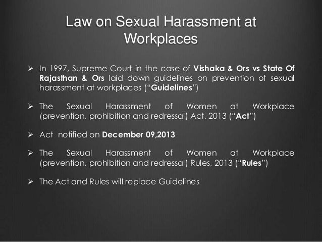 Sexual harassment legislation in india