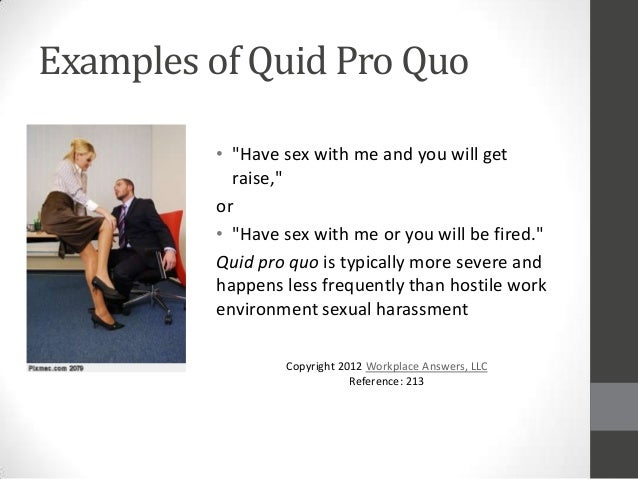 Types of sexual harassment quid pro quo harassment