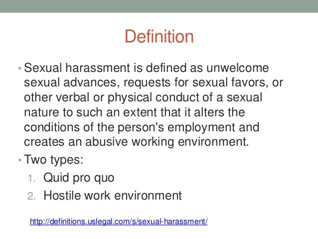 Definition Of Sexual Harrassment