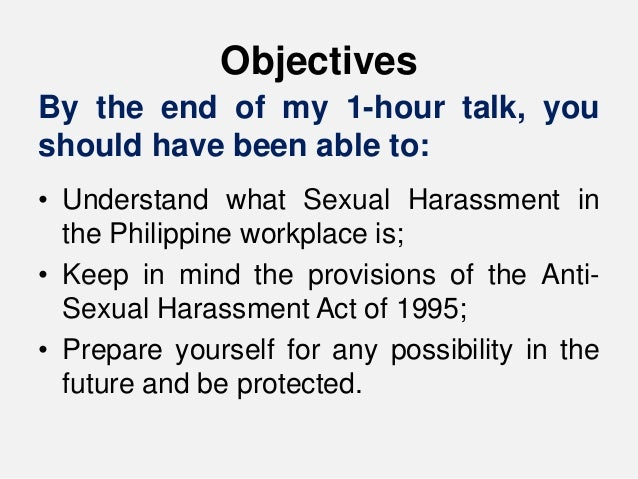 Anti sexual harassment act 1995 philippines map